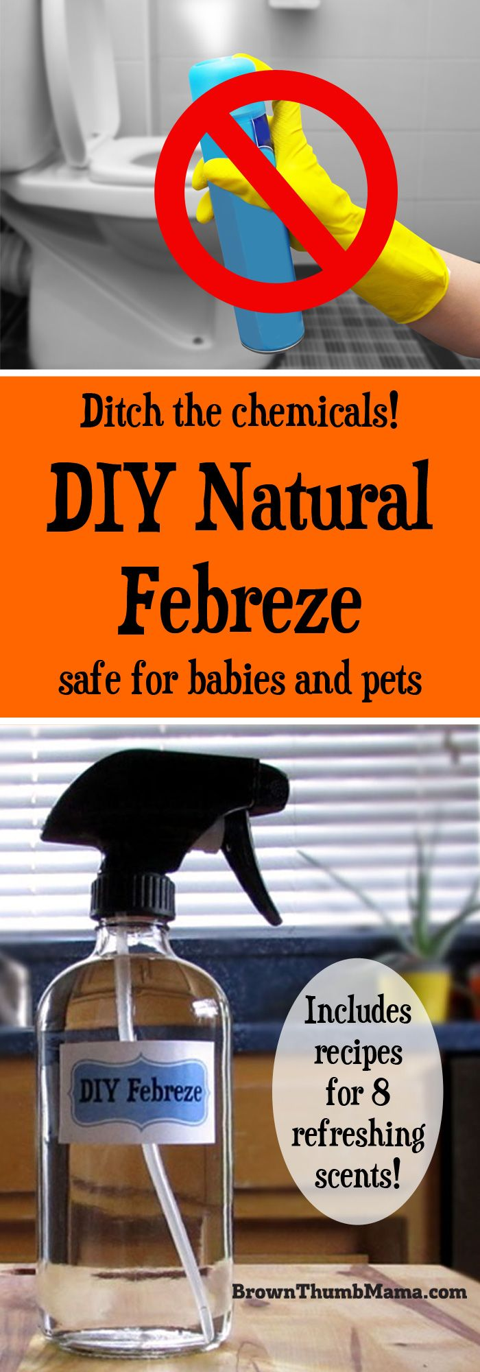 Never buy expensive, chemical air freshener sprays again! It's easy to make your own natural Febreze air freshener with these 3 simple ingredients--any scent you like.