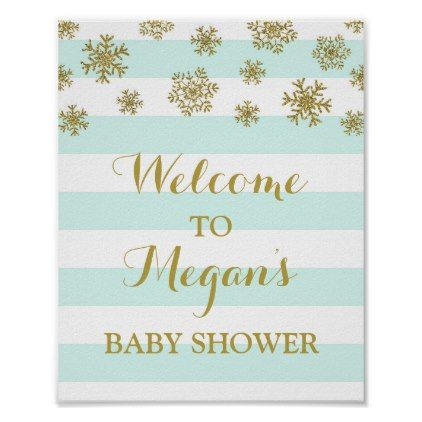Baby Shower Sign Blue Stripes Gold Snow - baby shower ideas party babies newborn gifts
