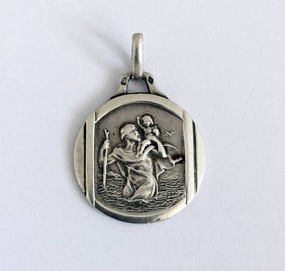 Antique French St Christopher Holy Medal Silver Lucky Charm St