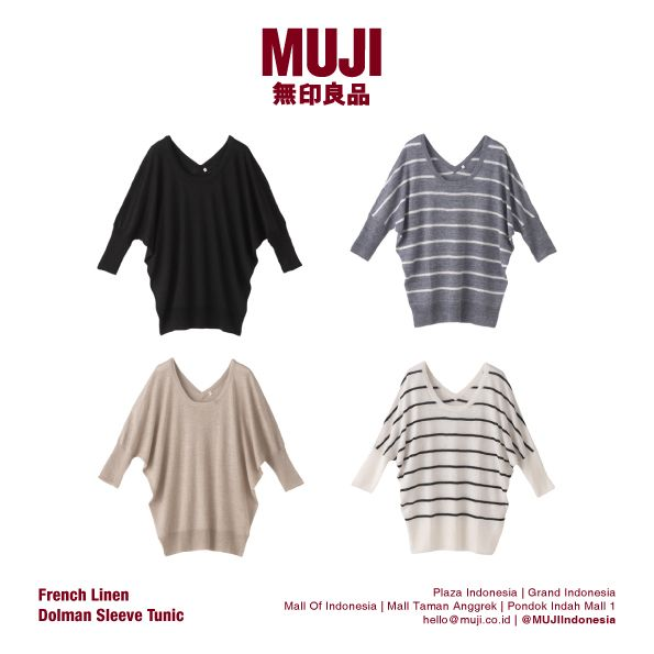[New] MUJI French Linen Dolman Sleeve Tunic for women. Now available at store! :)
