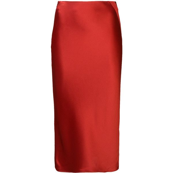 T By Alexander Wang satin pencil skirt ($320) ❤ liked on Polyvore featuring skirts, bottoms, red, satin skirt, t by alexander wang skirt, t by alexander wang, pencil skirts and red knee length skirt