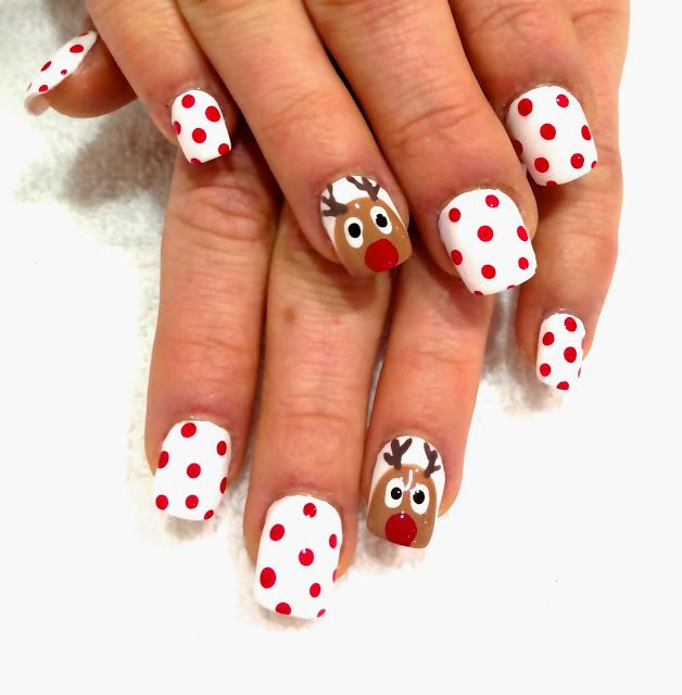 Reindeer Christmas nails!   nail art, christmas nail art, christmas, holiday nails, christmas nails, ho, santa, santa clause, snowman, reindeer, snow, candy cane,
