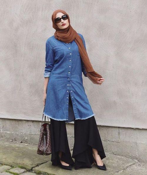long denim shirt dress hijab
