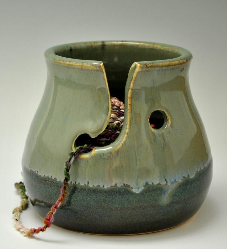 Green Stoneware Yarn Bowl or Knitting Bowl for a Single Skein. $32.00, via Etsy.