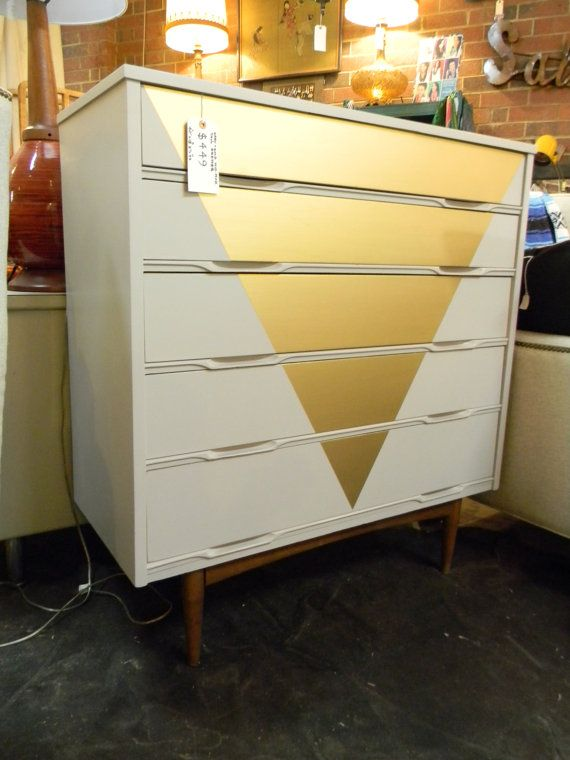 Geometric Glam Metallic Gold Triangle Front Mid Century Modern Dresser / Mid Mod / Chest of Drawers / Modern