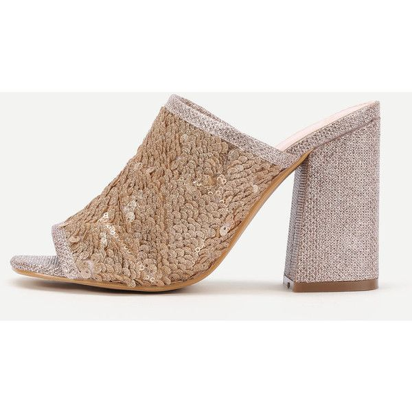 SheIn(sheinside) Sequin Overlay Block Heeled Mule Sandals ($19) ❤ liked on Polyvore featuring shoes, sandals, golden, high heel shoes, mule shoes, peep toe mules, high heel mule sandals and mule sandals