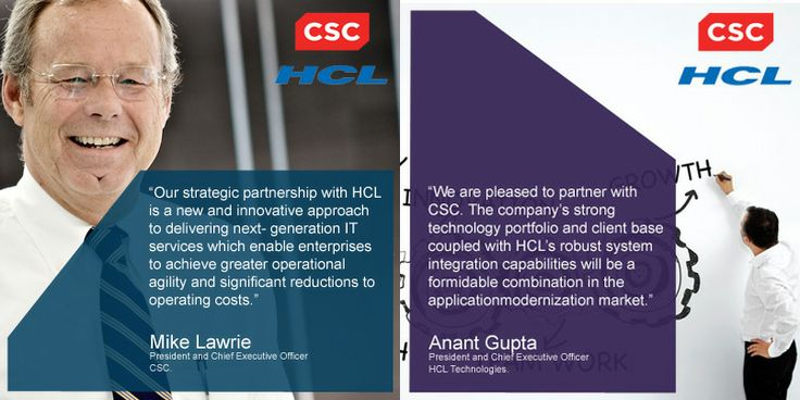 @Connie Clifton  &  /  have formed a strategic partnership to help #enterprise clients to modernize their #applications  View more: http://www.csc.com/newsroom/press_releases/105673-hcl_technologies_and_csc_announce_strategic_partnership_to_address_the_application_modernization_market?utm_source=twitter&utm_medium=social&utm_campaign=1013_GBD_OT_SocialPostoftheDay