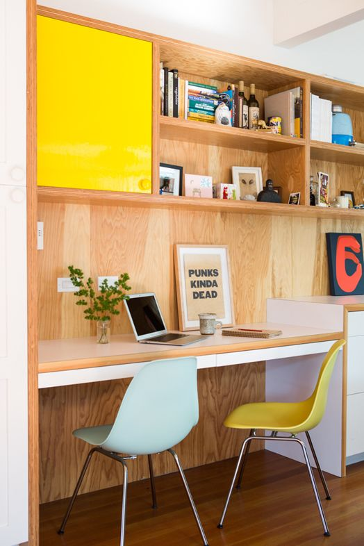 Colorful home office via Cush and Nooks. Photo by Laure Joliet.