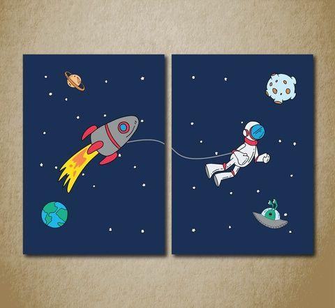 Babaszoba falikép, dekoráció, print, grafika szett - űrhajós- 2db A4-es (kkreabeaa) - Meska.hu