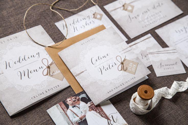 #trouwkaart #trouwhuisstijl #vintage #kant #hipdesign