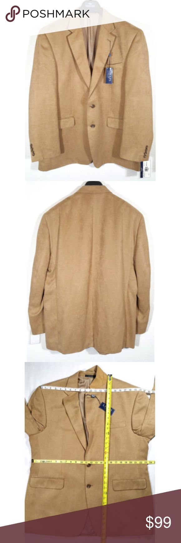 "Chaps Men Sport Jacket Coat Blazer Faux Suede 0855 New with Tags Chaps Men Chamois Faux Suede Sport Jacket Coat Blazer  - Tan Color - 3 front pockets, 3 interior pockets - Two button style. - Dry clean.  Size 44 Regular  Approx. measurements laying flat Shoulder to shoulder: 20"" Pit to pit: 24.5"" Length: 32.25"" Sleeve length: 25"" Waist: 23.25""  SKU 0855/50/CLE2 Chaps Jackets & Coats"