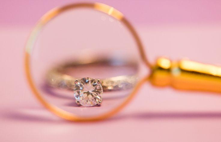 Engagement Ring, Custom Setting, Round Diamond, Magnifying Glass, Creative, Photo