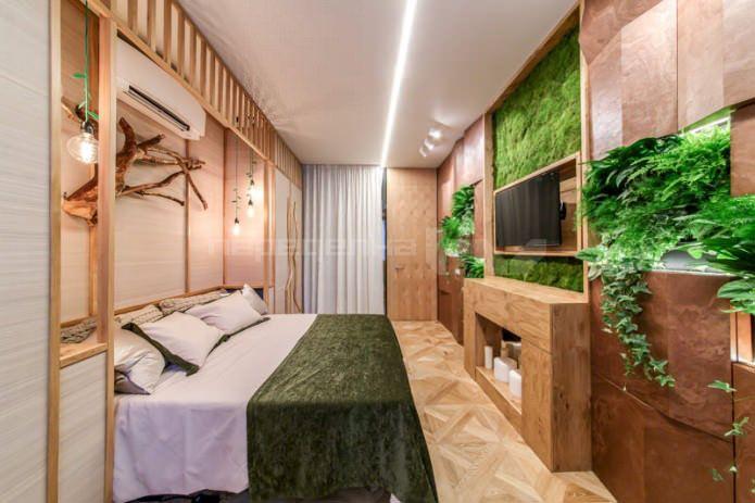 Необычная эко-спальня в коричнево-зеленых тонах