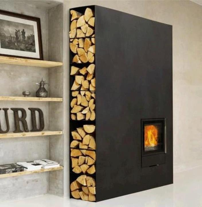 stockage bois a coté de la cheminée