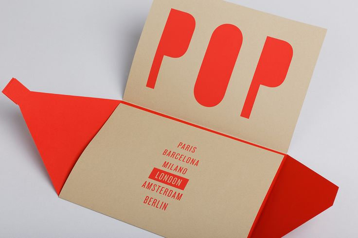 POP UP Exhibitions by Arjowiggins. Invitation London. Screenprinting on Keaykolour 100% Recycled Camel & Curious Matter Désirée Red.