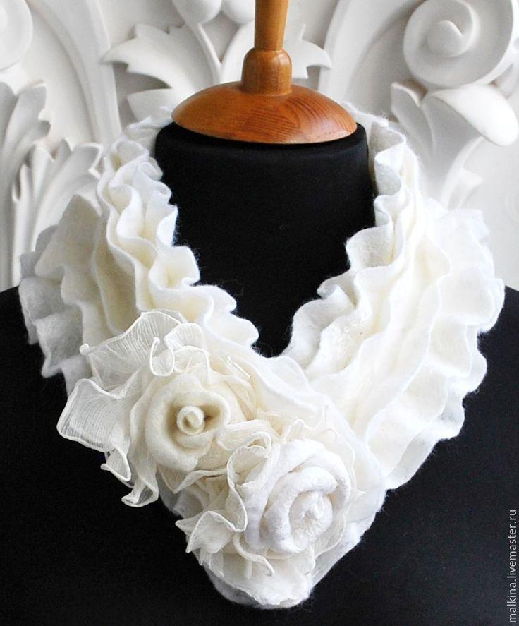 Купить Шарф-воротник Белые сны - белый, белый шарф, шарф, шарфы, белый воротничок