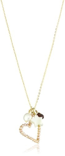 "Mercedes Salazar ""Stones"" Charms Pink Pearl Heart with Gold-Plated Chain Necklace"