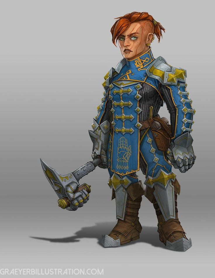 Captain Guvva 'Bearclaw'  Stonklug, fearless warrior, royal dwarf familly, fighter, military female dwarf, rpg, DnD, D&D, Character concept.