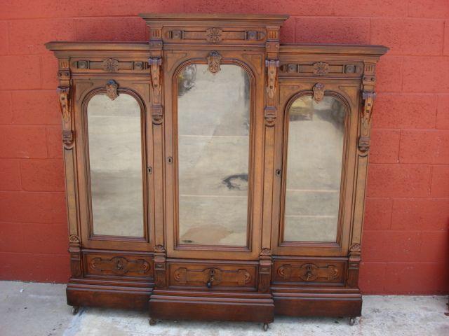 American Antique Victorian Bookcase Display Cabinet Antique Furniture