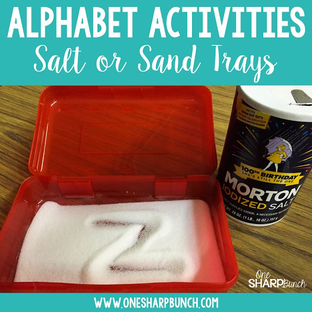 So many great ideas for DIFFERENTIATED alphabet activities... perfect for small groups!  Fill a pencil box with table salt for a tactile approach to alphabet intruction!