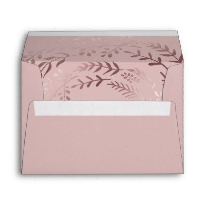 #Elegant Rose Gold and Pink Lined Wedding Envelope - #Wedding #Printed & #Mailing #Envelopes #weddinginvitations #wedding #invitations #party #card #cards #invitation