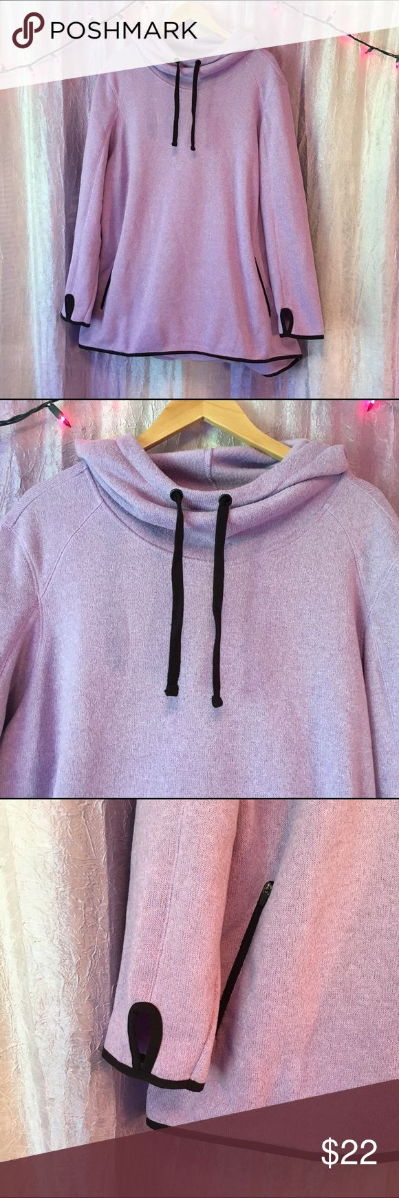 "Old Navy Active Womens Plus Size 3X Purple Hoodie Great condition. Barely used. Pullover with side zip pockets. Gathers at the neck/high necked - to stay cozy. Lovely shade of light lavender with dark brown accent on trim around sleeves and hem. Flat wide dark brown hoodie strings. Cozy and warm. Thin Knit sweater hoodie. Great quality.  Length: 31""  Armpit to Armpit : 25"" Old Navy Jackets & Coats"