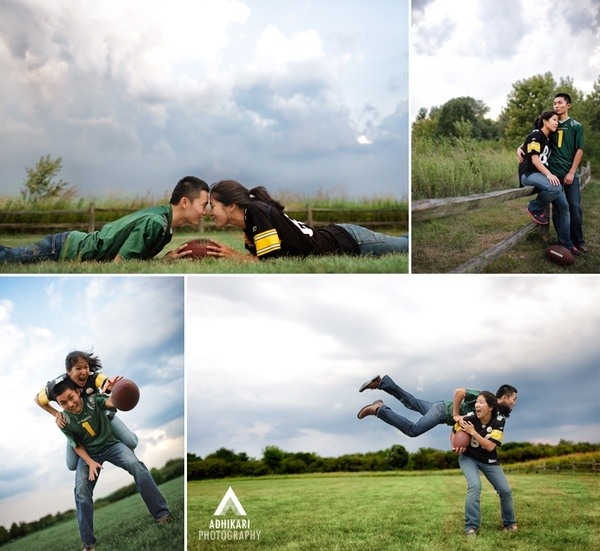 Fun football engagement pictures! But mine will have our daughter with us