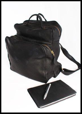 Rugtas & leren notebook  Handgemaakte leren tas, gemaakt in onze eigen atelier.