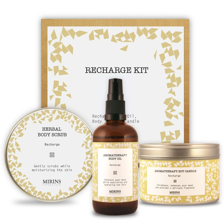 Recharge Kit Our Recharge aromatherapy line consists of a revitalizing blend of lemon and ginger essential oils  The Recharge Kit contains three items from the Recharge Aromatherapy line.  Includes Recharge Body Oil, Body Scrub & Candle.