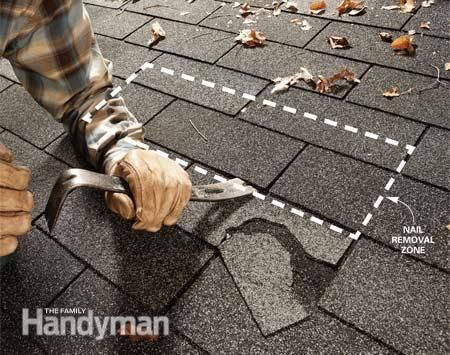 Easy Shingle Repair: Remove those ugly damaged shingles and stop potential roof leaks by following this simple three-step shingle replacement process. Read more: http://www.familyhandyman.com/roof/repair/easy-shingle-repair/view-all