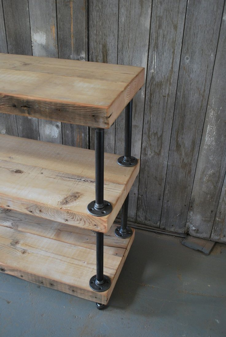 Industrial Reclaimed Wood shelves (3 shelves) .. or something more like this with just one or two shelves