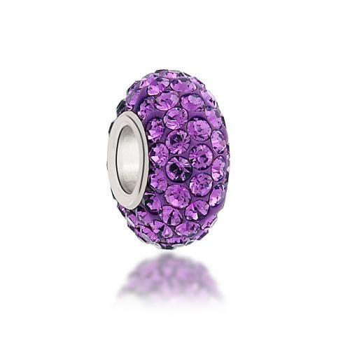 Purple Swarovski Crystal Bead 925 Sterling Silver Charm Fits Pandora