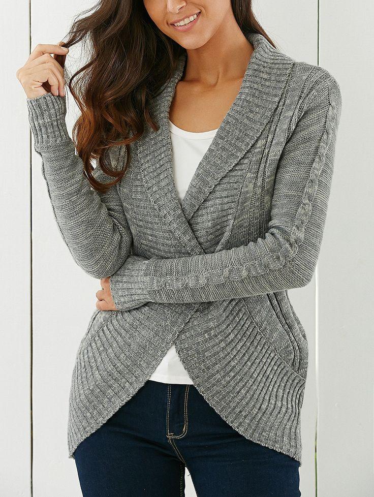 Stylish Shawl Collar Long Sleeve Slimming Cable Cardigan For Women