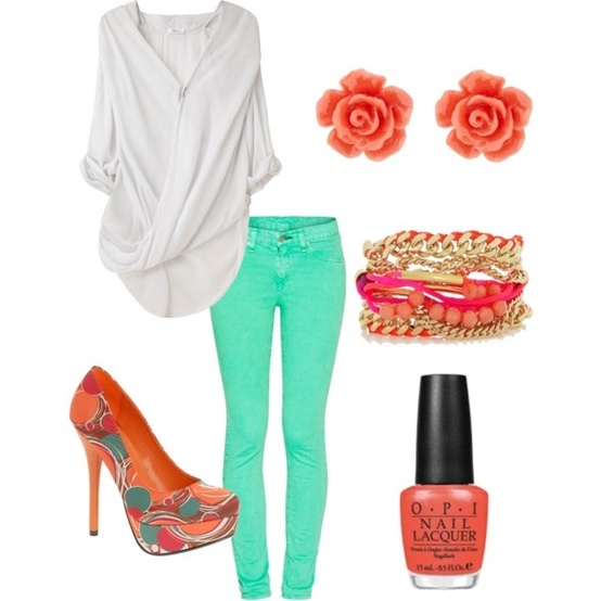 White, Turquoise, Coral Outfit ....not sure I'm bold enough to wear the heels