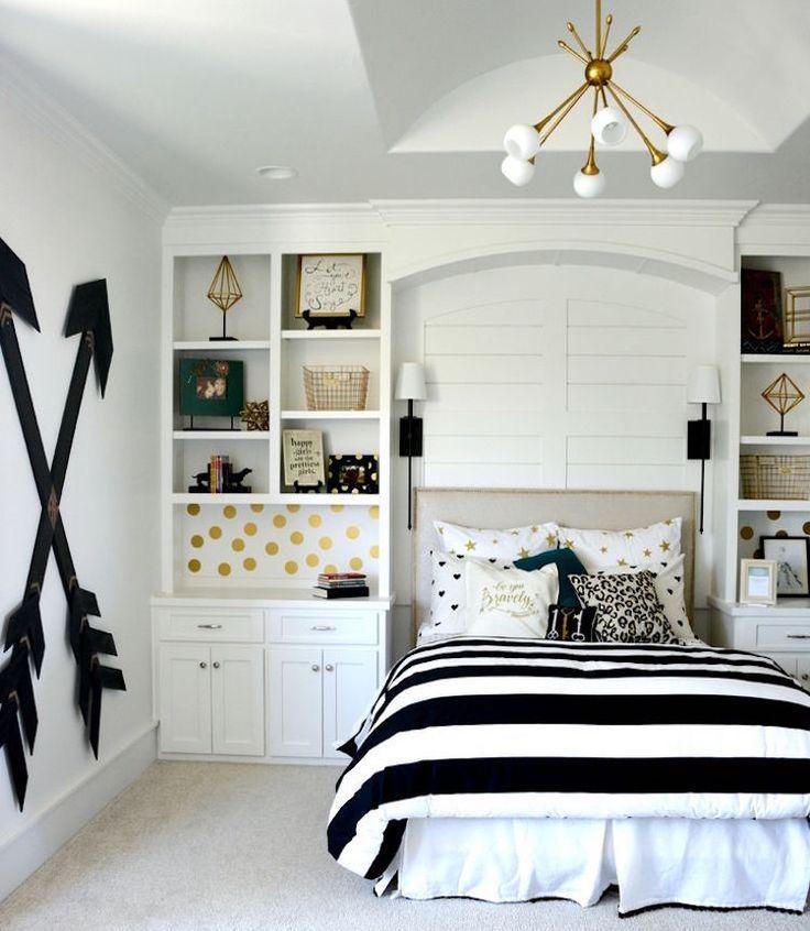 chambre de fille adolescente noir et blanc et idées de déco à pois dorés