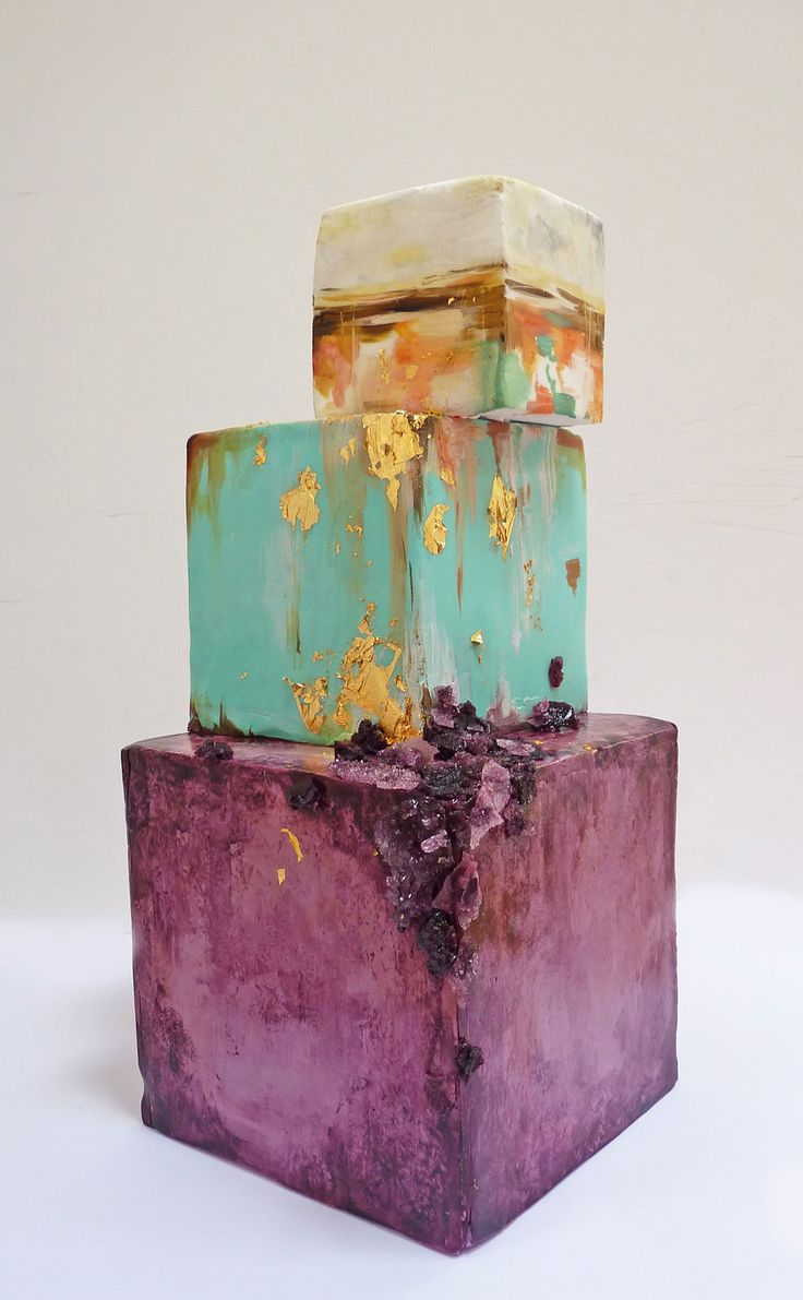 Quirky water colour and gold leaf cake