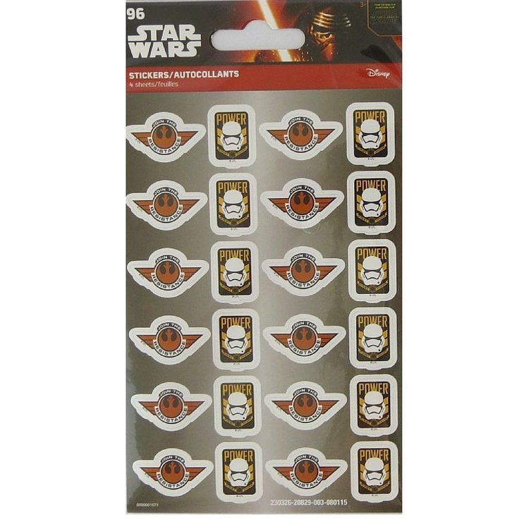 Details about star wars 96 stickers 4 sheets of 24