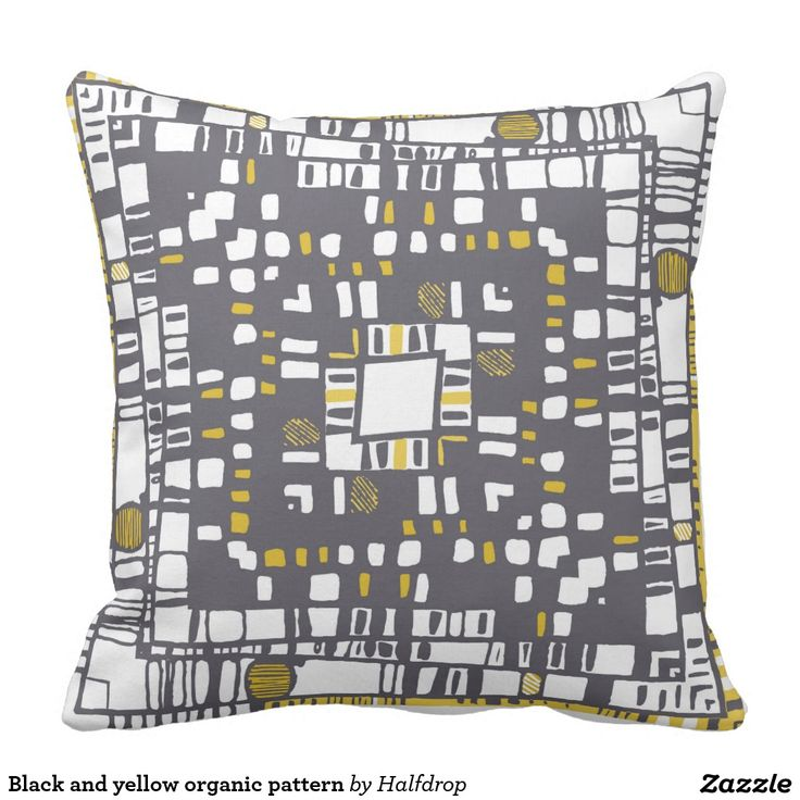 Black and yellow organic pattern pillow
