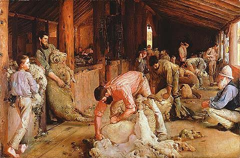 "1890. ""Shearing the Rams"" by Australian artist Tom Roberts. The painting depicts sheep shearers plying their trade in a timber shearing shed. Distinctly Australian in character, the painting is a celebration of pastoral life and work, especially ""strong, masculine labour"" and recognises the role that wool-growing played in the development of the country."