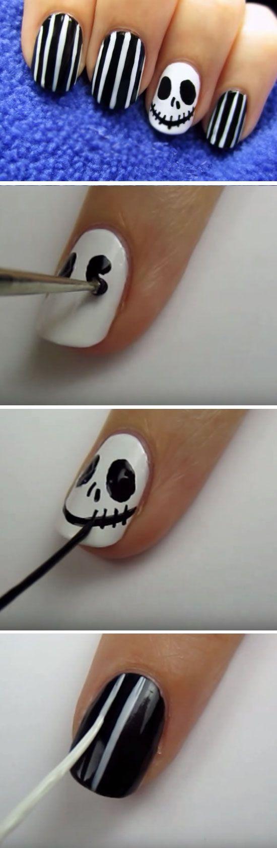 Jack Skellington | Click Pic for 23 Spooky Nail Art Ideas for Halloween | DIY Halloween Nail Art for Kids