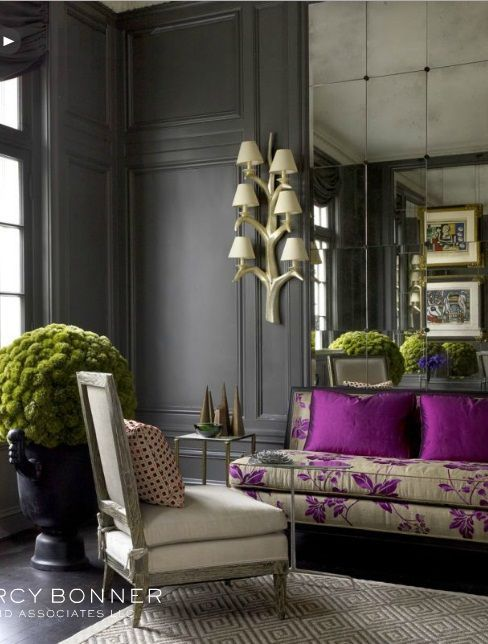 Feminine interior design & decor: pink, purple, fuchsia and charcoal gray walls#interiordesign: