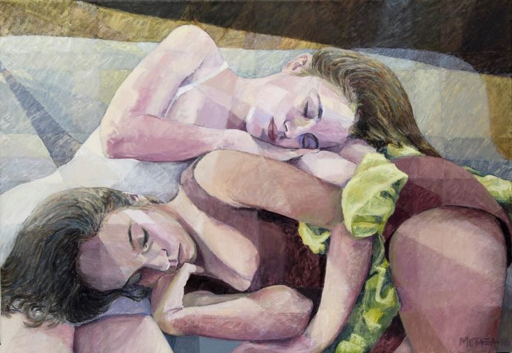 "Natasha Metaxa ""The sleeping sisters/We are such a staff as dreams are made on"", acrylic on canvas, 70x100cm"