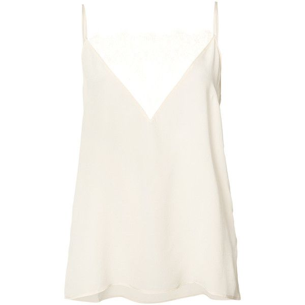Anine Bing lace trim cami top found on Polyvore featuring tops, shirts, tanks, tank tops, blusas, nude, camisole tops, white tank, lace trim camisole and camisole tank top