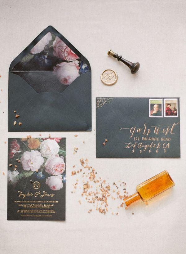 dramatic wedding invitation - photo by Greg Finck Photography http://ruffledblog.com/modern-romantic-wedding-in-provence