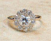 Antik viktoriánus 14 K sárga arany fürtözött virág Gyémánt eljegyzési gyűrű