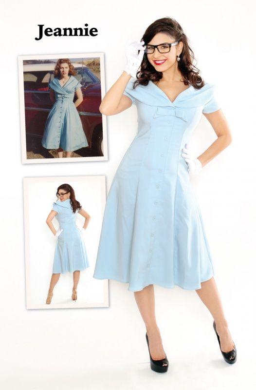 Bettie Page Jeannie Blue Dress | Jurken | Miss Vintage | Retro, vintage geïnspireerde dames kleding
