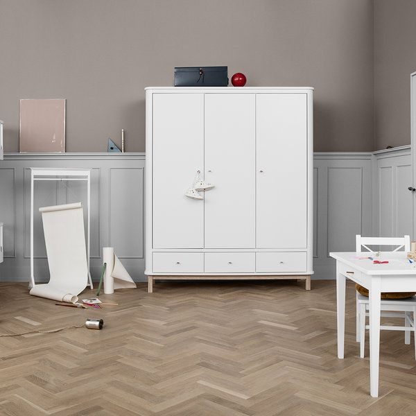 Three Door Wardrobe in White and Oak - Oliver Wood Collection