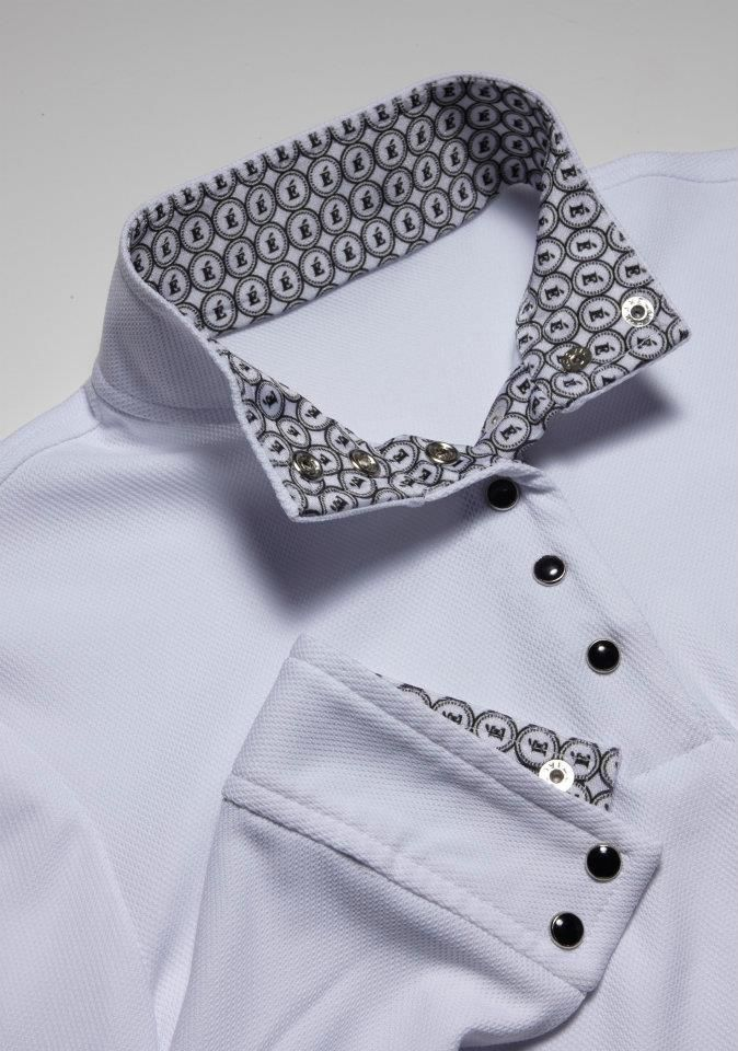 Black collar with black snaps (also available with white snaps) - Éce Ladies Long Sleeve Competition Show Shirt