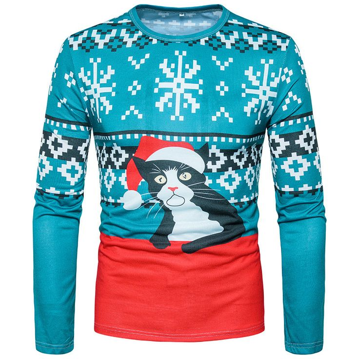 Ugly men s christmas 3d printed t shirts long sleeve funny tops cat print t shirts 01