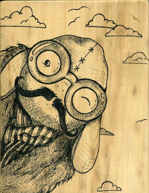 """Aviator"" Ink on wood"